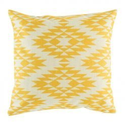 Light decorative cushion with bright yellow print