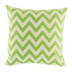 Lime green chevron design on cushion