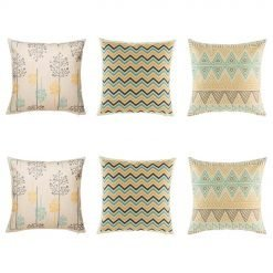 Appealing 6 cushion cover set with chevron, aztec and tree designs in blue, yellow and grey colours