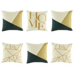 Classy 6 cushion cover set with dark blue/black and yellow colouring offset with light yellow lines and HOME text on the feature cushion
