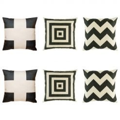 6 corby cushion collection with 2 cushions with black cross motif, black chevron and repeating black square pattern