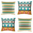 4 cushion cover set with bold yellow, grey and blue colours in geometric patterns
