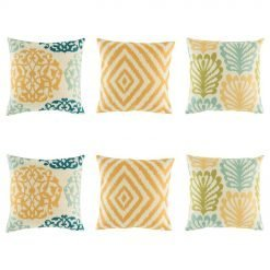 6 cushion cover set with 3 designs in yellow diamond, yellow, dark blue and light green royal swirl and a fern style