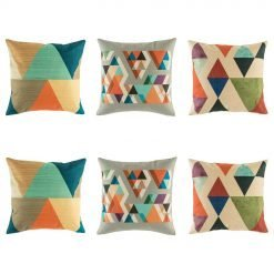 Bright cushion cover collection with bold triangle shape designs