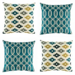 Collection of 4 cushions with blue and yellow pattern