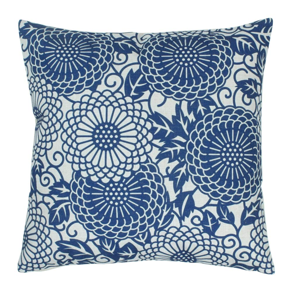 45x45cm cotton linen cushion with monochromatic blue design
