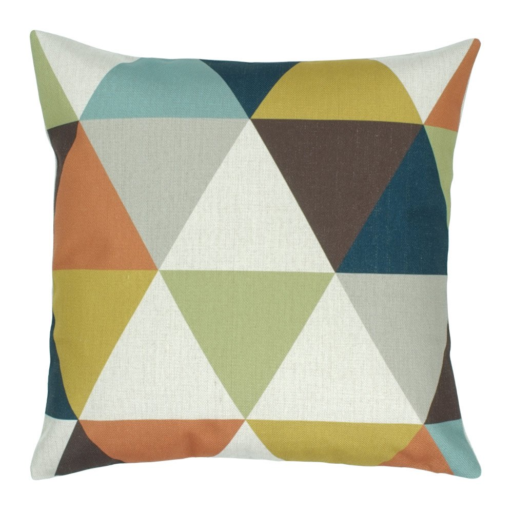 Square outdoor cushion cotton linen cover with triangles design
