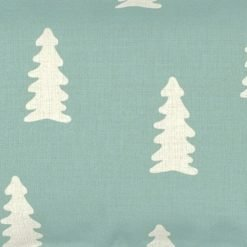 Close up of tiffany blue and white rectangular linen cushion cover
