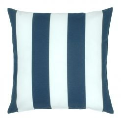 Outdoor cushion cover with navy blue and white striped colours