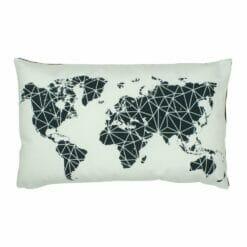 Travel map inspired rectangular velvet cushion cover