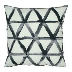 Modern velvet cushion cover with black and white triangles design