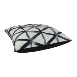 Outdoor velvet cushion with black and white colours