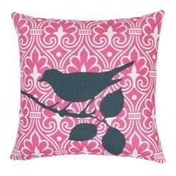 Square outdoor pink cotton linen cushion with bird print