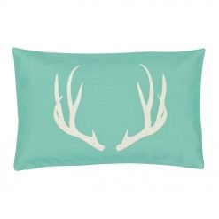 Rectangular tifanny blue and white linen cushions with stag design