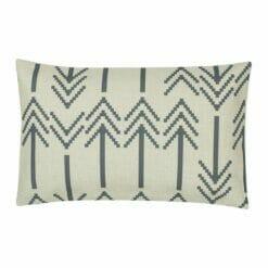 Rectangular outdoor linen cushion with grey arrows design