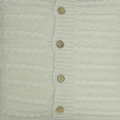 CLoseup Image of Square Beige Cable Knit Cushion Cover 50cm x 50cm With Buttons