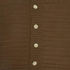 Closeup Image of Square Chocolate Cable Knit Cushion Cover 50cm x 50cm With Buttons