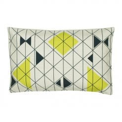 Rectangular outdoor linen cushion with lines and triangles