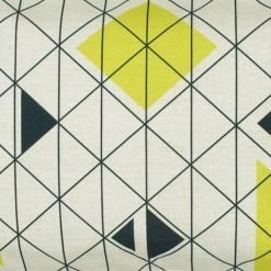 Close up of rectangular linen cushion cover with triangles