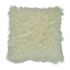 45cm x 45cm Cream Square Fur Cushion Cover