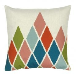 Square Cushion Cover 45x45cm With Multi Colour Diamond Pattern