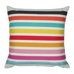 Square multi-colored striped velvet cushion cover