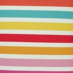 Close-up of velvet cushion cover with multi-colour stripes
