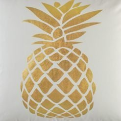 Closeup image of Square Cushion Cover 45x45cm With Gold Pinapple pattern
