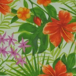 Close up of floral green and orange cushion cover