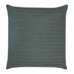 Back Image of Grey Cable Knit Cushion Cover 50cm x 50cm With Buttons