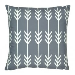 45x45cm grey velvet cushion with white arrows pattern