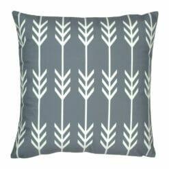 45x45cm grey velvet cushion with white arrows pattern