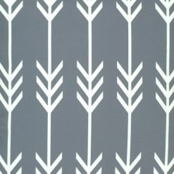 Close up of grey velvet cushion cover with arrows