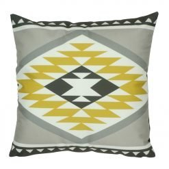 45x45cm cushion with grey, white and yellow velvet Aztec pattern