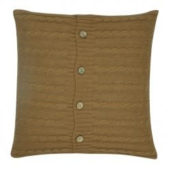 Light Brown Cable Knit Cushion Cover 50cm x 50cm WIth Buttons