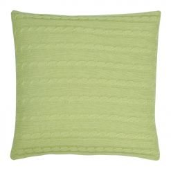 Back Image of Square Light Green Cable Knit Cushion Cover 50cm x 50cm WIth Buttons