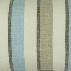 Close up of blue ecru stripe rectangular cotton linen cushion