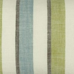 Close up of denim blue and lime rectangular cotton linen cushion