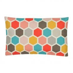 Multi Colour Rectangular Cushion Cover 30x50cm With Hexagon Pattern