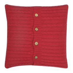 Square Maroon Cable Knit Cushion Cover 50cm x 50cm With Buttons