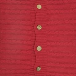 Closeup Image of Square Maroon Cable Knit Cushion Cover 50cm x 50cm With Buttons