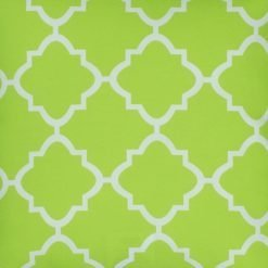 Close up of square lime outdoor cushion cover.