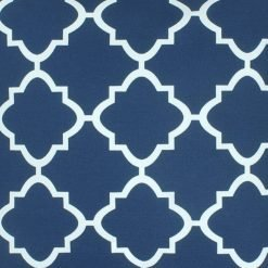 Close up of square navy blue outdoor cushion cover.
