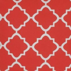 Close up of square red outdoor cushion cover.