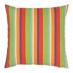 Square outdoor cushion with stripes and vintage design