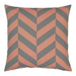 Square cushion cover with peach and grey colours
