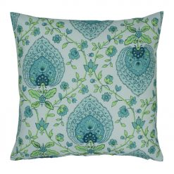 Tifanny blue green outdoor cushion cover with floral print