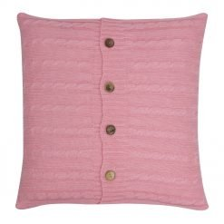 Square Pink Cable Knit Cushion Cover 50cm x 50cm With Buttons
