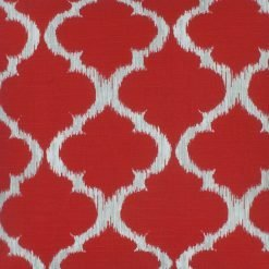 Close up of red and white outdoor cushion cover