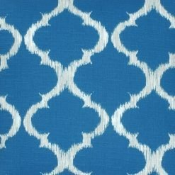 Close up of teal and white outdoor cushion cover